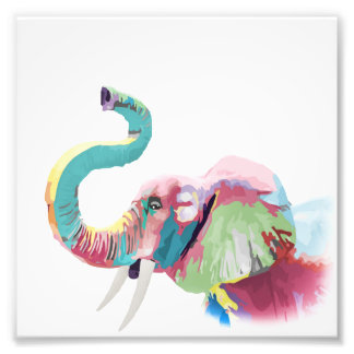 Cool awesome trendy colorful vibrant elephant photographic print