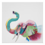 Cool awesome trendy colourful vibrant elephant poster