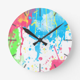 Cool awesome trendy colourful vibrant watercolours round clock