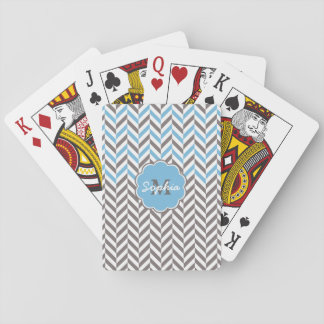 Cool awesome trendy monogram herringbone zigzag playing cards