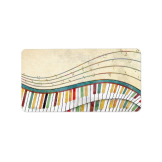 Cool awesome wavy piano retro colours antique label