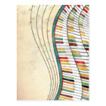 Cool awesome wavy piano retro colours antique postcard