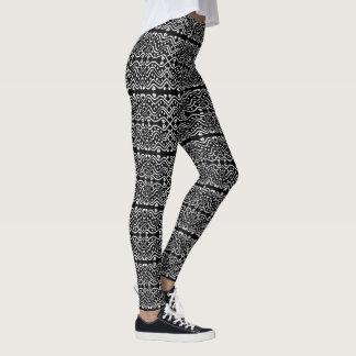 Cool Aztec Style Black & White Geometric Pattern Leggings