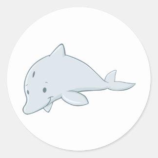Cool Baby Bottlenose Dolphin Cartoon Round Sticker