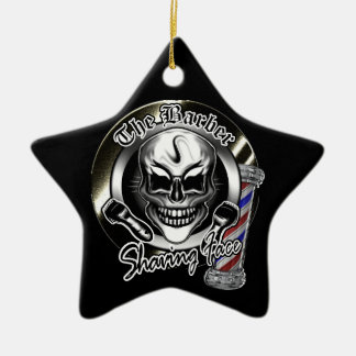 Cool Barber Skull Christmas Ornament