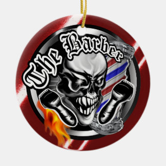 Cool Barber Skull with Flaming Razor Christmas Ornament