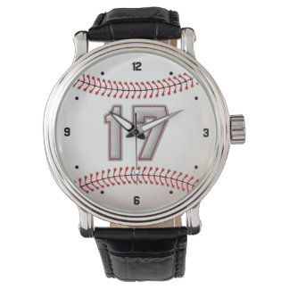 Cool Baseball Player Number 17 - Stitches Look Watch