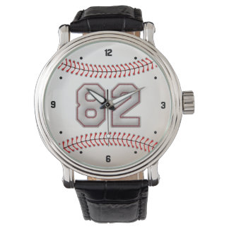 Cool Baseball Player Number 82 - Stitches Look Watch