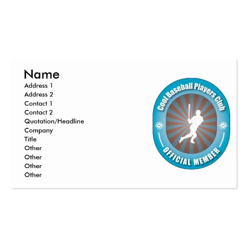 Cool Baseball Players Club Business Card Template