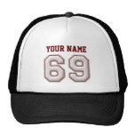 Cool Baseball Stitches - Custom Name and Number 69 Cap