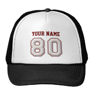 Cool Baseball Stitches - Custom Name and Number 80 Cap
