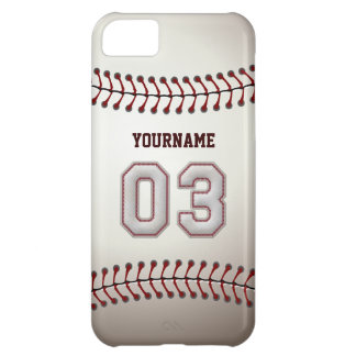 Cool Baseball Stitches - Custom Number 03 and Name iPhone 5C Case