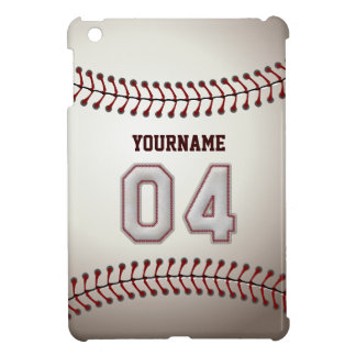 Cool Baseball Stitches - Custom Number 04 and Name iPad Mini Case