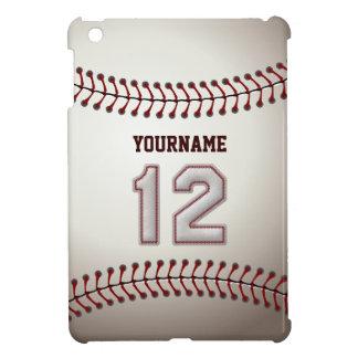 Cool Baseball Stitches - Custom Number 12 and Name iPad Mini Cases