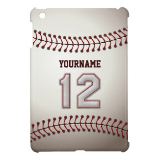 Cool Baseball Stitches - Custom Number 12 and Name iPad Mini Cover