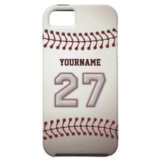 Cool Baseball Stitches - Custom Number 27 and Name iPhone 5 Cover