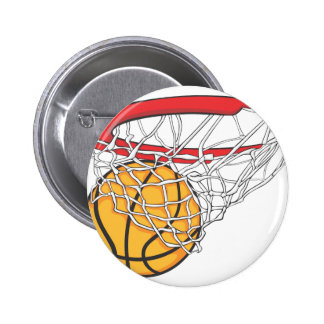 Cool Basketball Shoot in Ring Net Shirt 6 Cm Round Badge