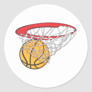 Cool Basketball Shoot in Ring Net Shirt Round Sticker