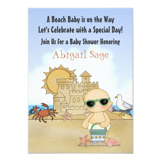 Cool Beach Baby Shower Invitation ~ Neutral
