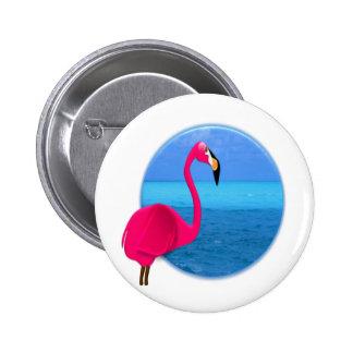 Cool Beach Flamingo 6 Cm Round Badge