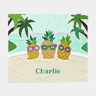 Cool Beach Pineapples custom name fleece blankets