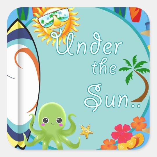 Cool Beach Surf Pattern Square Sticker