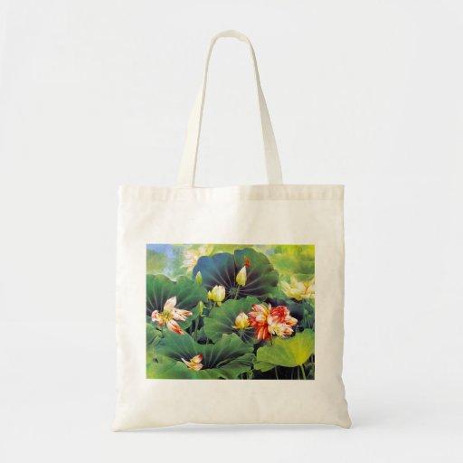 Cool beautiful chinese lotus flower green leaf art bags