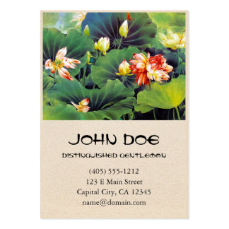 Cool beautiful chinese lotus flower green leaf art business card template