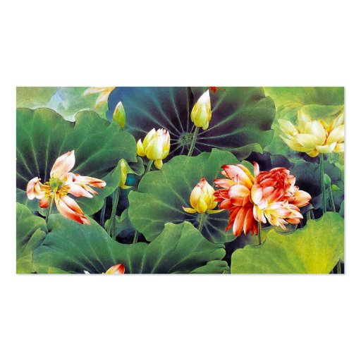 Cool beautiful chinese lotus flower green leaf art business card