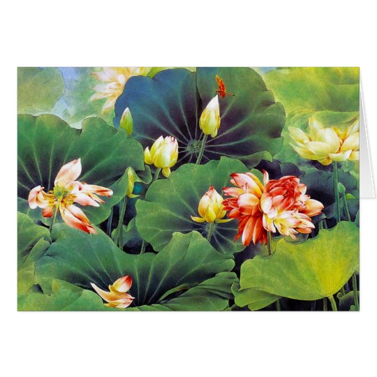 Cool beautiful chinese lotus flower green leaf art card