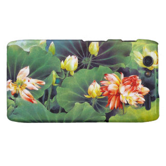 Cool beautiful chinese lotus flower green leaf art droid RAZR cases