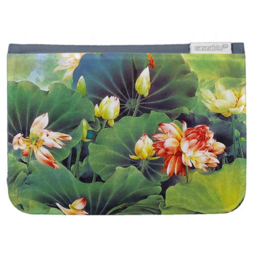 Cool beautiful chinese lotus flower green leaf art cases for the kindle