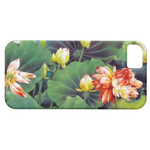 Cool beautiful chinese lotus flower green leaf art iPhone 5 cover