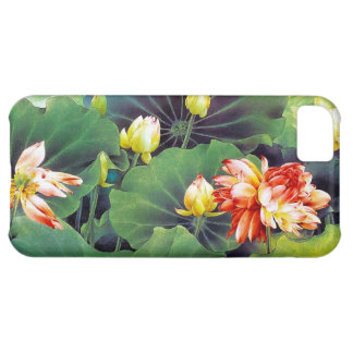 Cool beautiful chinese lotus flower green leaf art iPhone 5C case