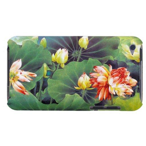 Cool beautiful chinese lotus flower green leaf art iPod Case-Mate case