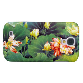 Cool beautiful chinese lotus flower green leaf art galaxy s4 case