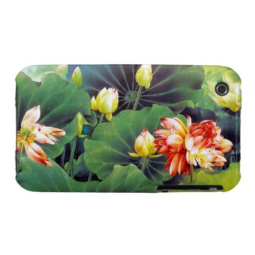 Cool beautiful chinese lotus flower green leaf art iPhone 3 Case-Mate cases