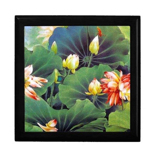 Cool beautiful chinese lotus flower green leaf art gift box