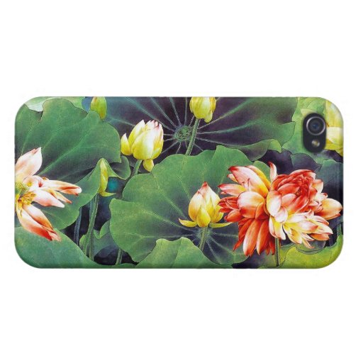 Cool beautiful chinese lotus flower green leaf art iPhone 4 covers