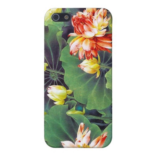 Cool beautiful chinese lotus flower green leaf art iPhone 5 case