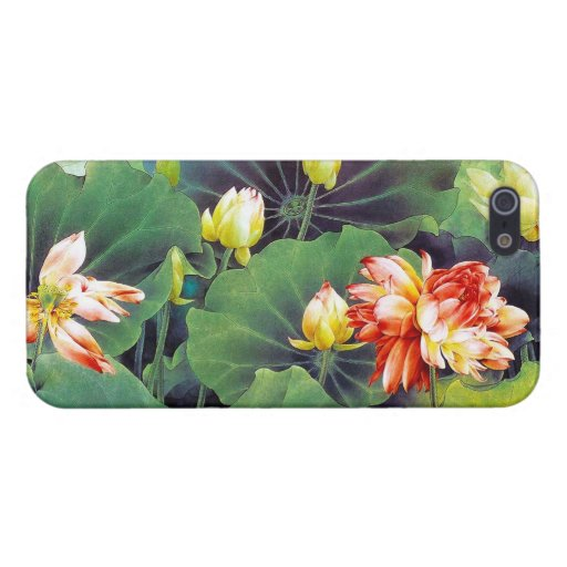 Cool beautiful chinese lotus flower green leaf art cases for iPhone 5