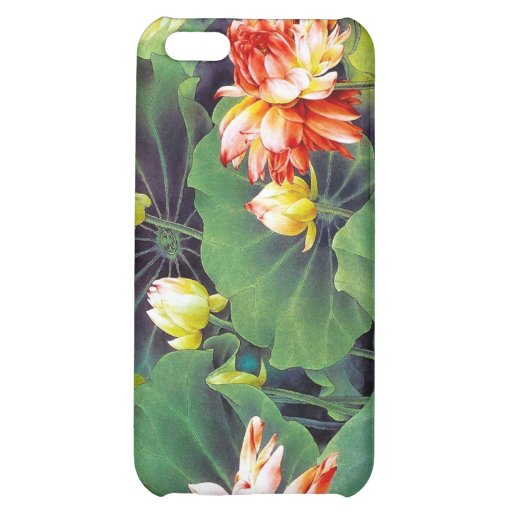 Cool beautiful chinese lotus flower green leaf art iPhone 5C covers