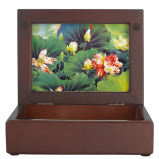 Cool beautiful chinese lotus flower green leaf art keepsake box