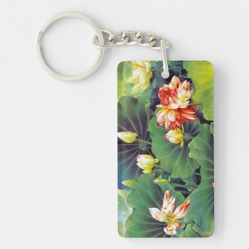 Cool beautiful chinese lotus flower green leaf art rectangular acrylic key chains