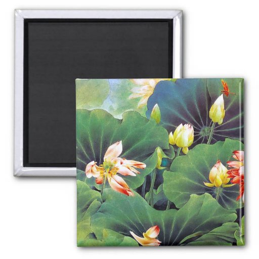 Cool beautiful chinese lotus flower green leaf art refrigerator magnets