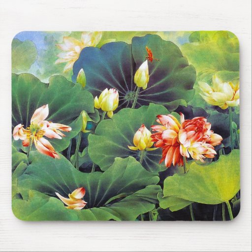 Cool beautiful chinese lotus flower green leaf art mouse pads