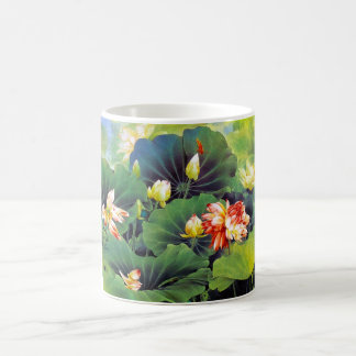 Cool beautiful chinese lotus flower green leaf art coffee mug