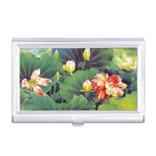 Cool beautiful chinese lotus flower green leaf art business card holder