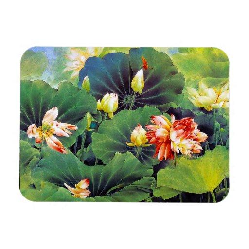 Cool beautiful chinese lotus flower green leaf art vinyl magnets