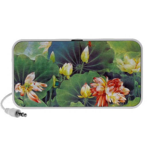 Cool beautiful chinese lotus flower green leaf art iPhone speaker